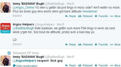 Argos respond to BADMAN in street dialect